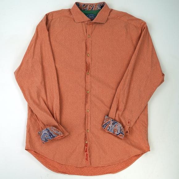 Robert Graham Other - Robert Graham Flip Contrasting Cuff Textured Shirt